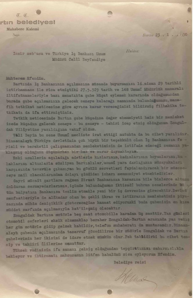 İş Bankası Müzesi - Bartın Belediye Reisi mektup